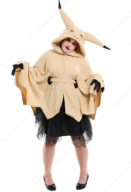 Plus Size Pikachu Mimikyu Halloween Cloak Dress Curvy Cosplay Costume