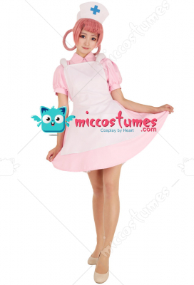 Nurse Joy Pink Cosplay Costume Dress with Hat