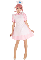 Nurse Joy Pink Cosplay Costume Dress with Hat