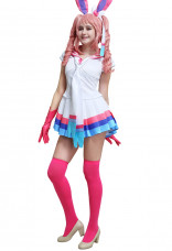 PM Sylveon Pink Cream-colored Cosplay One-piece Dress Costume with Ears