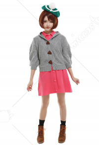 PM Sword & Shield Gloria Female Casual Dress with Knitted Coat and Hat Cosplay Costume
