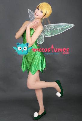 Tinker Bell Cosplay Costume Dress with Wings and Shoes Inspired by Peter Pan