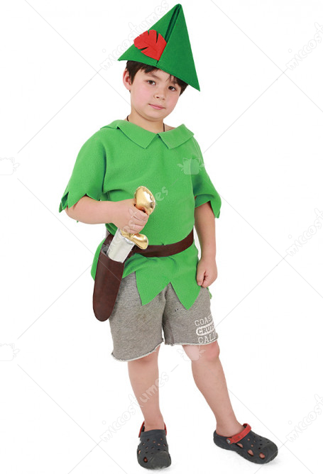 Peter Pan Kids Halloween Costume with Hat and Sword
