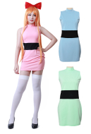 [Free US Economy Shipping] Girls Blossom Bubbles Buttercup Pink Green Blue Adults Cosplay Costume