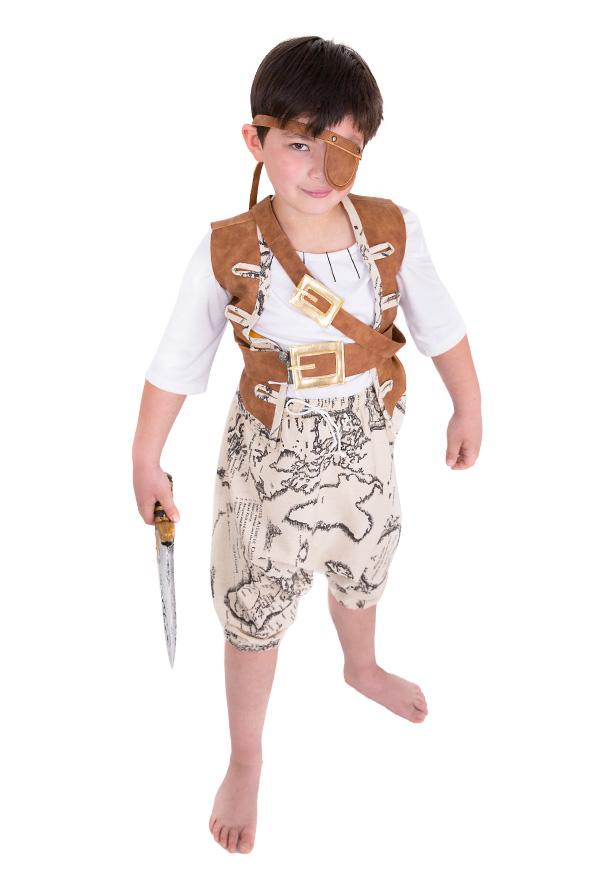 Kinder Piraten Kostüm für Jungen mit Augenklappe und Gürtel Set