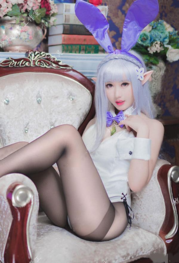Re Zero Starting Life in Another World Emilia Bunny Girl Cosplay Kostüm Body