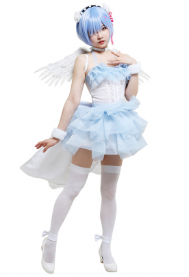 Re Zero Starting Life in Another World Rem Angel Style Tube Top Dress Set Cosplay Costume Outfit with Wristbands Wing Headband Choker Ankle Ring