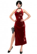 Resident Evil 4 Ada Wong Cosplay Costume Embroidered Cheongsam Style Red Dress