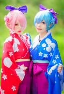 Re: Zero − Starting Life in Another World Rem/Ram Kimono Cosplay Costume Graduation Festival Set