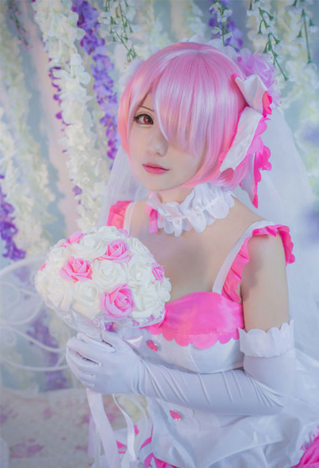 Re Zero Starting Life in Another World Ram Cosplay Costume Wedding Dress