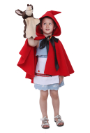 Little Red Riding Hood Girl Halloween Cosplay Costume Cloak Cape For Kids