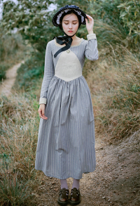 Classic Lolita British Style Retro Medieval Dress Maiden False Two Pieces Striped Dress for Winter Autumn