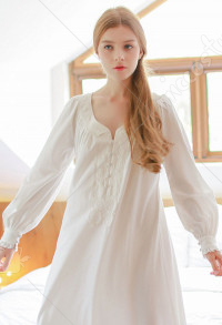Medieval Court Retro Home Wear Sweet Lace Ruffle Princess Dress Long Sleeves Sleepwear for Spring Autumn