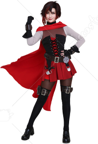 RWBY 7 Ruby Rose Cosplay Costume with Cloak and Belts Set