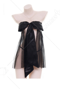 Cute Bowknot Sheer Gauze Bikini Set Sexy Net Sleepwear Dress Backless Mesh Lingerie Set