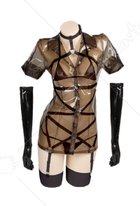 Nurse Cosplay Costume Black Sexy See Through Lingerie Bandage Two Piece Bikini Set