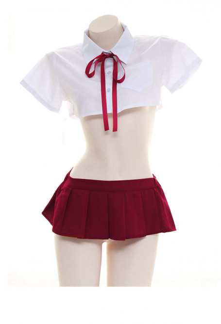 Cute School Girl JK Uniform Skirt Set Super Short Japanese Style Sleepwear Lingerie Set