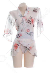 Sheer Japanese Kimono Chiffon See Through Yukata Lingerie Sleepwear Dress