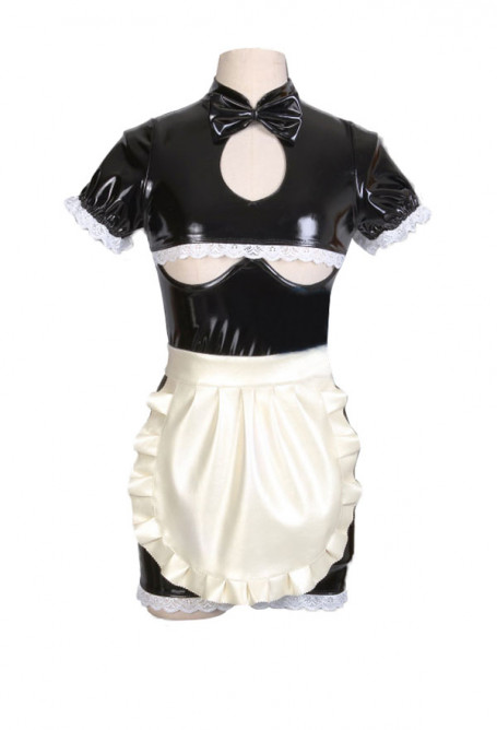 Cute Lace Ruffle Maid Faux Leather Dress Zipper Up Chest Open Lingerie Maid Role Play Costume