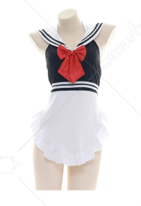 Cute Sailor Uniform Apron Sleepwear With Thong Sexy Lingerie Set