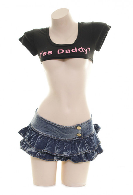 Yes Daddy Super Short Crop Tops Letter Printed Short Sleeve Lingerie T Shirt