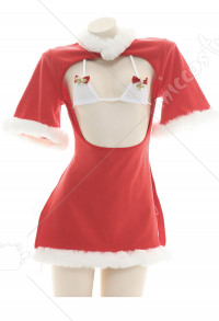 Sexy Woman Chinese Style Red and White Christmas Fur Collar Open Chest Side Slit Short Dress Chongsam Pajama Sleepwear Cosplay Costume