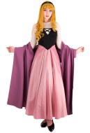Purple and Pink Princess Maiden Dress Cosplay Costume with Corset and Cape Inspired by Princess Aurora