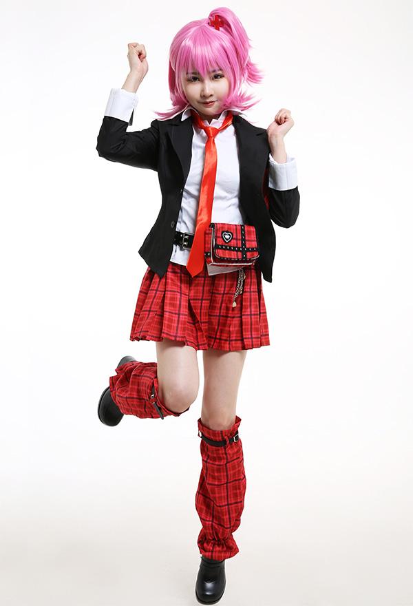 Shugo Chara Cosplay Kostüm Amu Hinamori Japanischer Stil Uniform Hemd Faltenrock Regenschirmrock Jacke A Linien Rock mit Bauchtasche Cosplay Kostüm