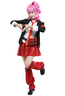Shugo Chara Amu Hinamori JK Uniform Set Cosplay Costume Outfit with Belt Waist Bag Leg Covers Arm Accessories Tie Headdresses