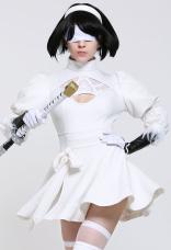 Soulcalibur VI 2P YoRHa No. 2 Tipo B 2B Nier: Traje de cosplay blanco 2B de Automata