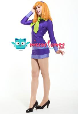 Scooby-Doo Daphne Blake Cosplay Costume Dress with Hairband