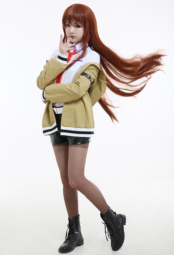 Steins Gate Assistant Kurisu Makise Cosplay Kostüm Uniform mit Krawatte und Gürtel