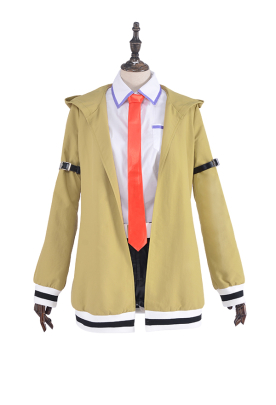 Steins Gate Assistant Makise Kurisu Cosplay Costume Uniform with Tie and Belt