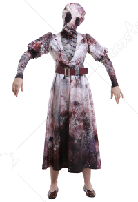Dead by Daylight The Nurse Sally Smithson Warping Killer Nurse Uniform Dress Outfit Cosplay Costume with Neck Band and Headgear