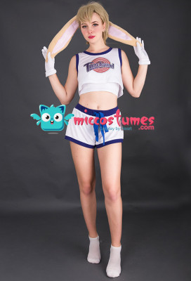 [Free Shipping]Space Jam Lola Bunny Rabbit Cosplay Costume with Rabbit Bunny Ears