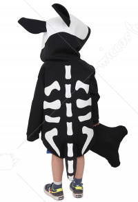 Skeleton Puppy Dog Kids Halloween Costume Coat Outfit With Bone Pillow