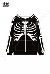 Manchy Skeleton Cosplay Costume Hoodie with Zipper
