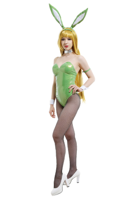 How NOT to Summon a Demon Lord Shera L Greenwood Bunny Girl One-Piece Leather Zentai Bodysuit Outfits Cosplay Costume with Bunny Ear Headdress and Pantyhose