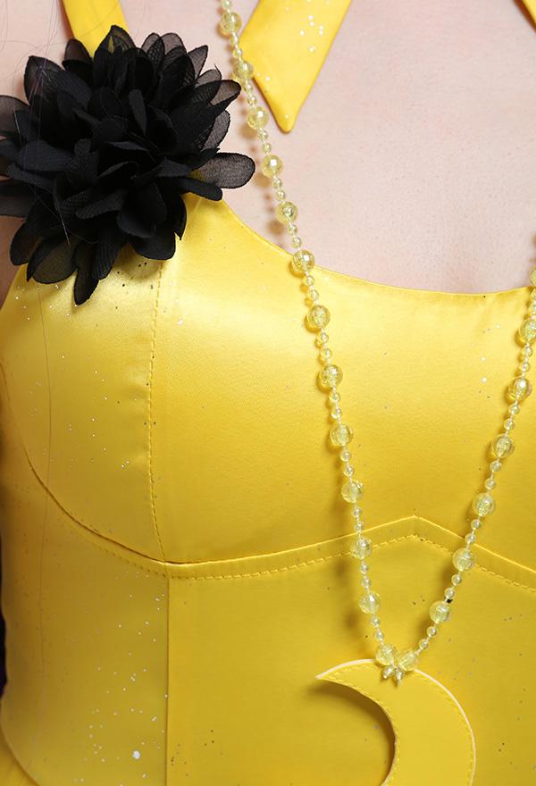 Sailor Moon Luna Cosplay Kostüm Langes Gelbes Kleid mit Ohrring Choker Halskette Rückenfrei Niedriger Kragen Slingkleid Cosplay Kostüm