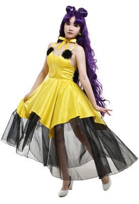 Sailor Moon Luna Suspender Dress Cosplay Costume Outfit with Petticoat Neck Decoration Necklace Earrings