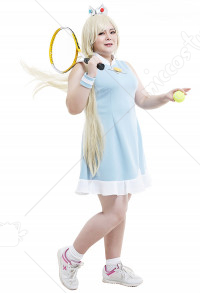Plus Size Mario Tennis Rosalina Dress Curvy Cosplay Costume with Earrings and Wristband