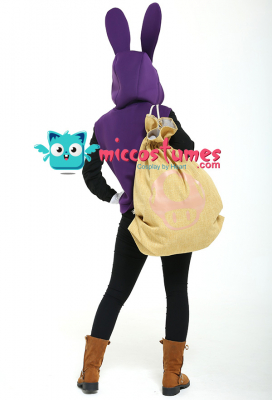 Nabbit Rabbit Cosplay Costume Bunny Ears Hoodie with Mask and Bag