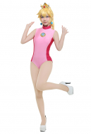 Princess Peach Odyssey Cosplay Costume Swimsuit with Crown and Earings