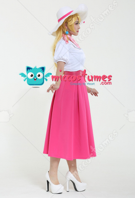 Princess Peach Odyssey Travel Cosplay Costume Dress with Hat