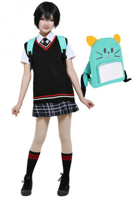 Peni Parker Penny Parker Cosplay Costume School Uniform Dress Inspired by Into The Spider-Verse with Backpack