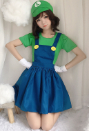 [Free Shipping]Mario Girls Plumber Clothes Cosplay Costume
