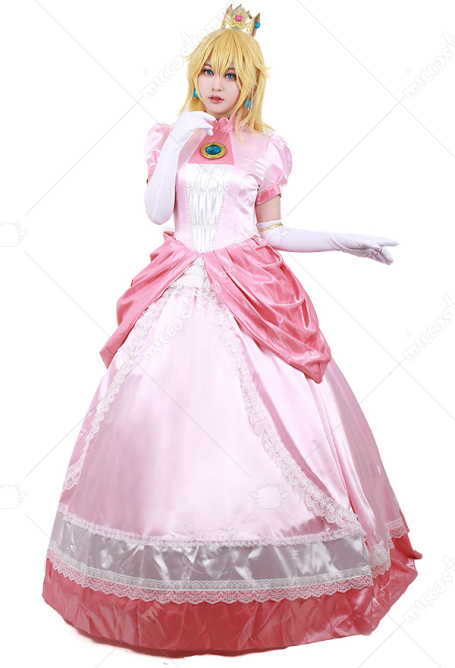 Princess Peach Cosplay Costume Pink Dress with Crown