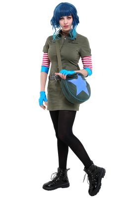 Scott Pilgrim vs the World Ramona Flowers Cosplay Costume Cargo Dress Outfit with Star Circle Messenger Bag