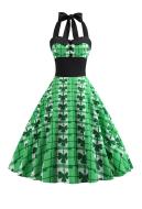 St. Patricks Day Vintage Sleeveless Green Dress Women Halter V-neck Dress with Shamrock