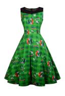 St. Patricks Day Shamrock Vintage Sleeveless Dress Women Green Clover & Rainbow Dress for St. Patricks Day Cosplay